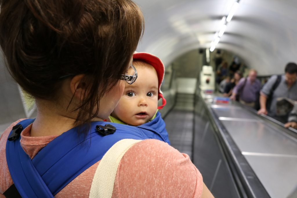 london underground with a baby
