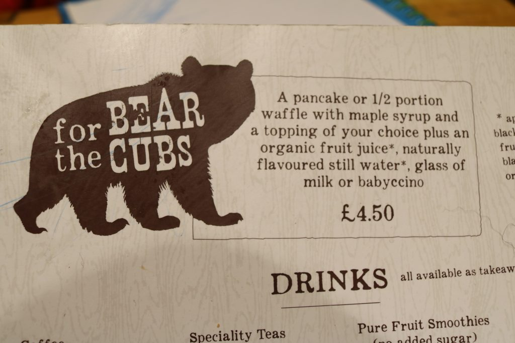 the kids menu at the cabin in sheffield