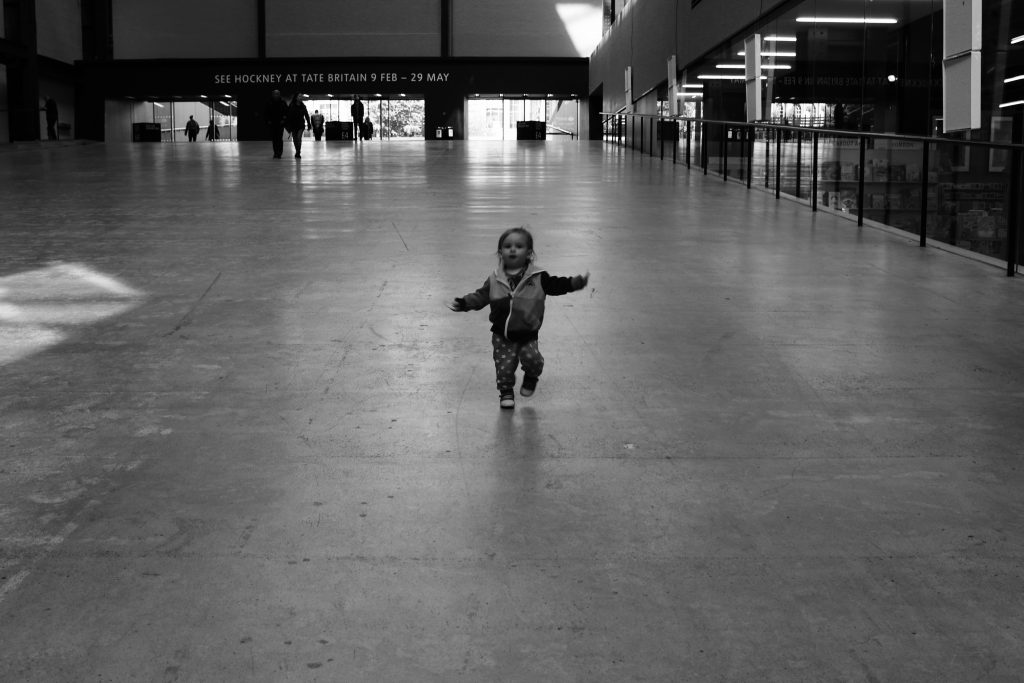Toddler at Turbine hall The Tate Modern, South Bank, London