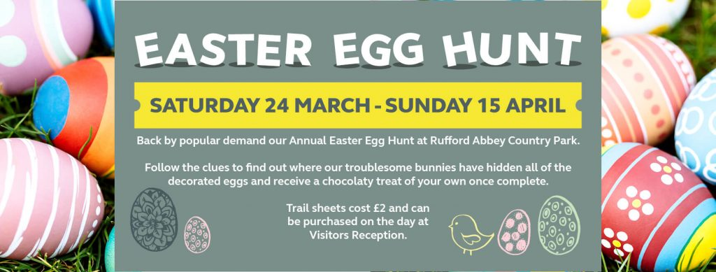Rufford Abbey Egg Hunt What's on in/near Sheffield for Kids this Easter